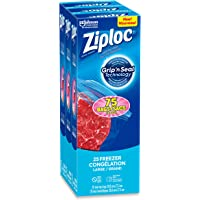 Ziploc Freezer Bags with Double Zipper Seal and Easy Open Tabs, Large, 75 Count (3 box x25 count/box ) value pack