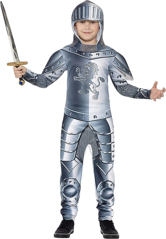 Smiffy'S 43168M Disfraz De Caballero Con Armadura De Lujo Con Traje Entero Y Adorno, Gris, M - Edad 7-9 Años