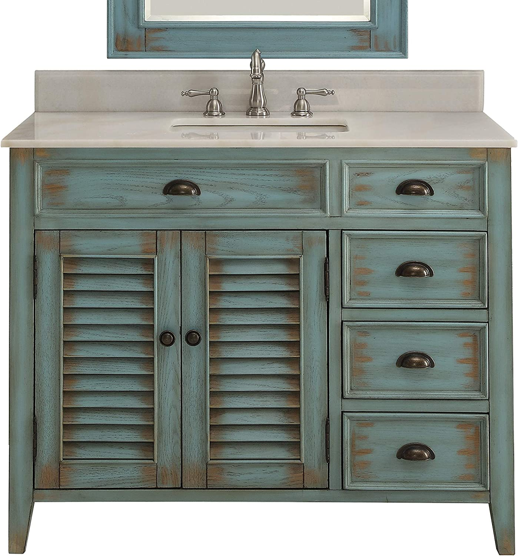 Amazon Com 36 Benton Collection Abbeville Rustic Blue Farmhouse Bathroom Vanity Cf 78887bu Kitchen Dining