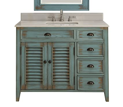 42 Benton Collection Distress Blue Abbeville Bathroom Sink Vanity