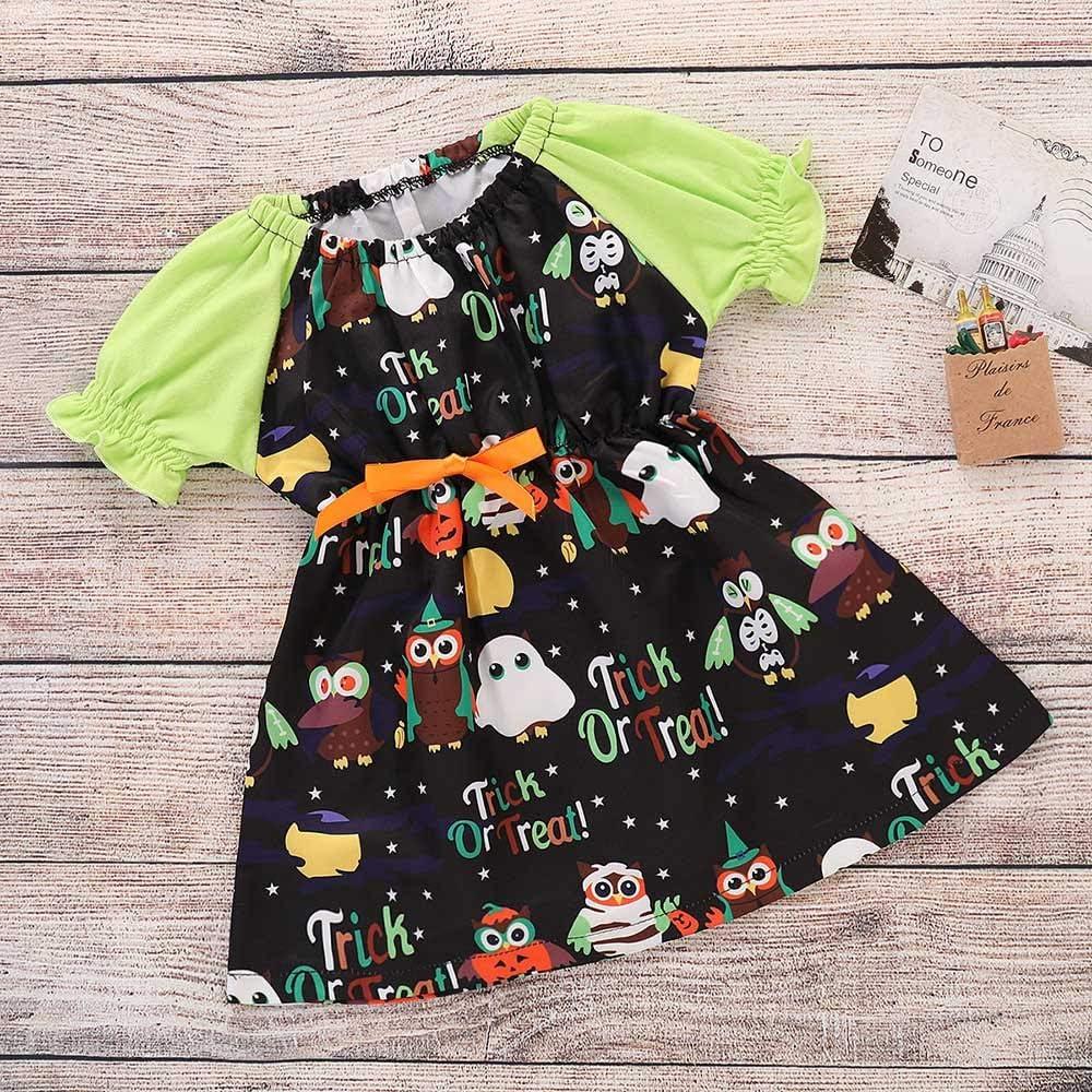 Star/_wuvi Dress Girl Infant Baby Girl Cartoon Print Princess Short Sleeve Dresses Party Halloween Outfits