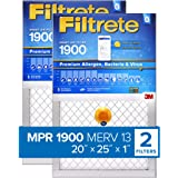 Filtrete 20x25x1 Smart Replenishable AC Furnace Air Filter, MPR 1900, Premium Allergen, Bacteria & Virus, 2-Pack