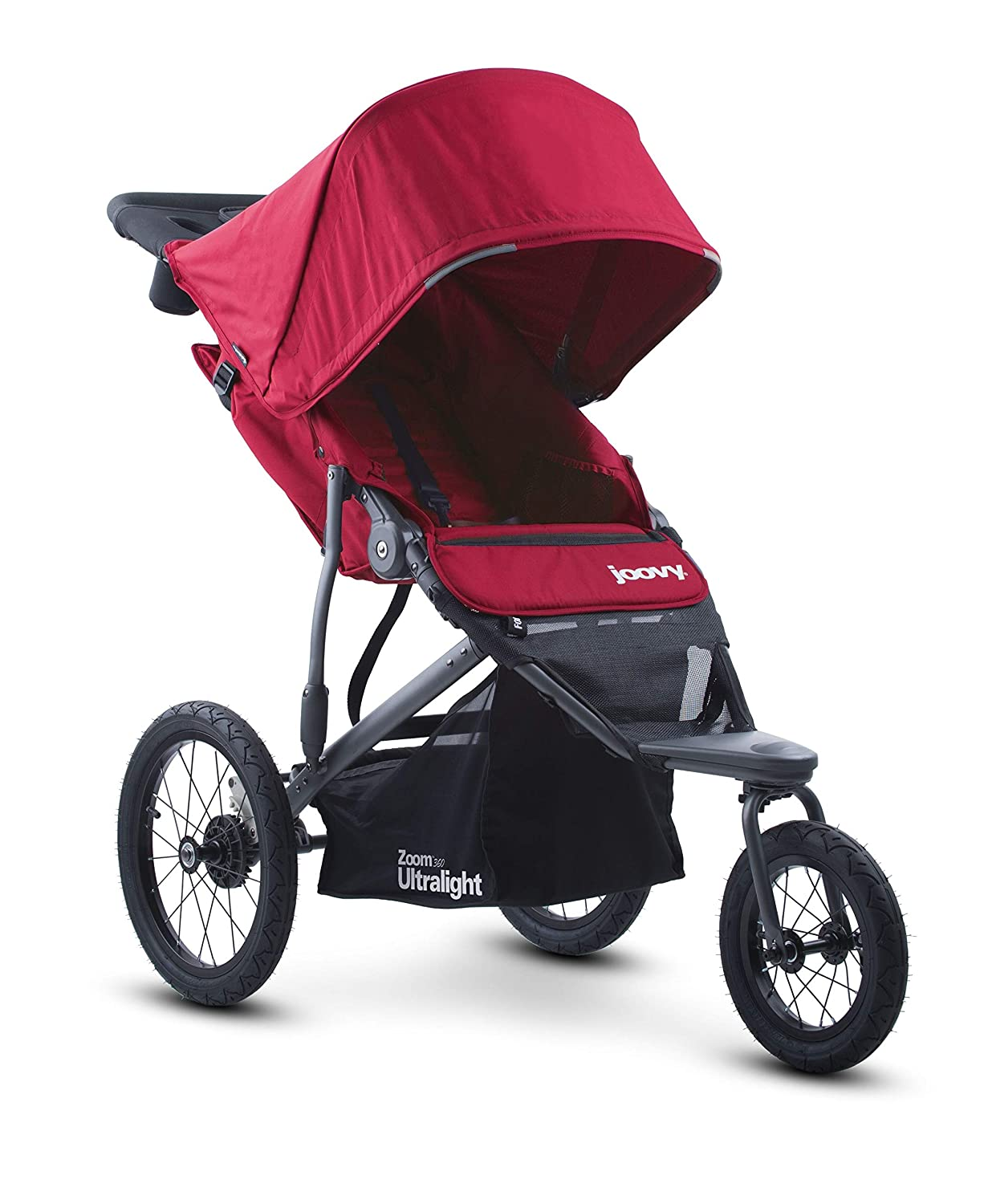 Joovy Zoom 360 Ultralight Jogging Stroller, Large Canopy, Lightweight Jogger, Extra Large Air Filled Tires, Red