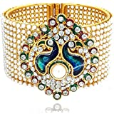 YouBella Traditional Style Gold Plated Pearl Studded Kara Bangle for Women