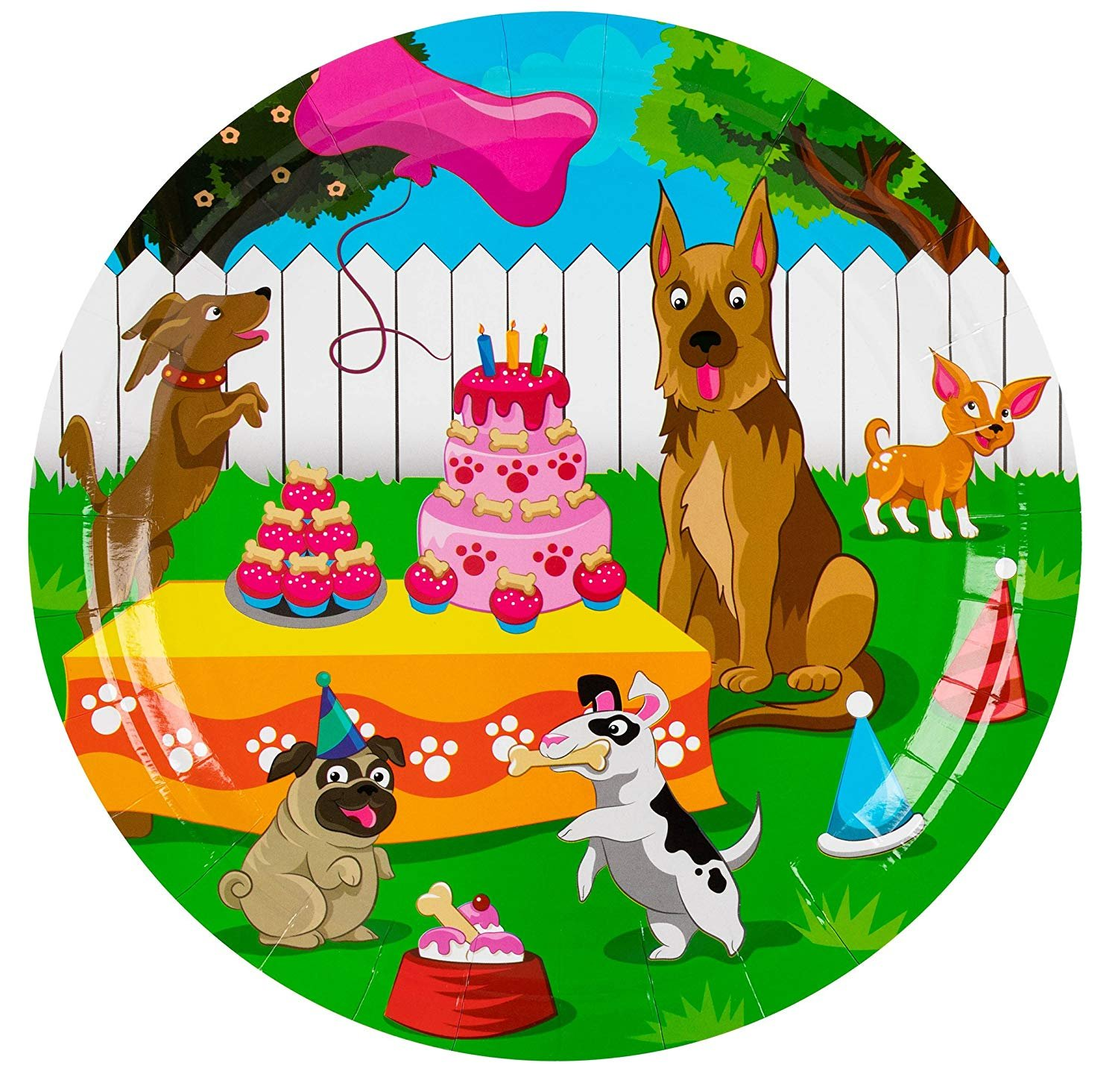 Disposable Plates - 80-Count Paper Plates, Puppy Party Supplies for Appetizer, Lunch, Dinner, and Dessert, Kids Birthdays, 9 x 9 inches by Blue Panda (Image #6)