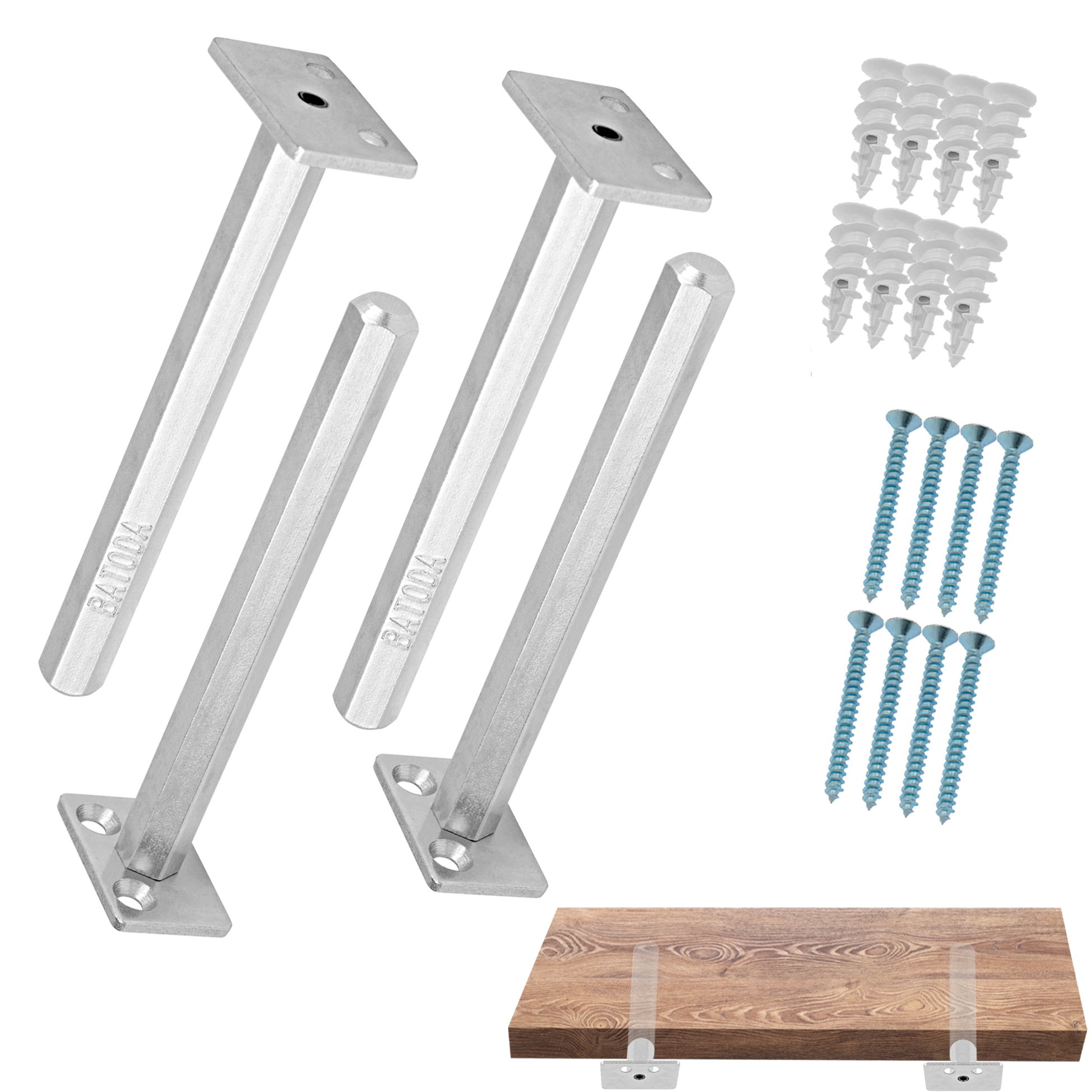 Floating Shelf Bracket (4 pcs Galvanized Steel) - Blind Shelf Supports - Hidden Brackets for Floating Wood Shelves - Concealed Blind shelf Support – Screws and Wall plugs Included (Shelf NOT Included)