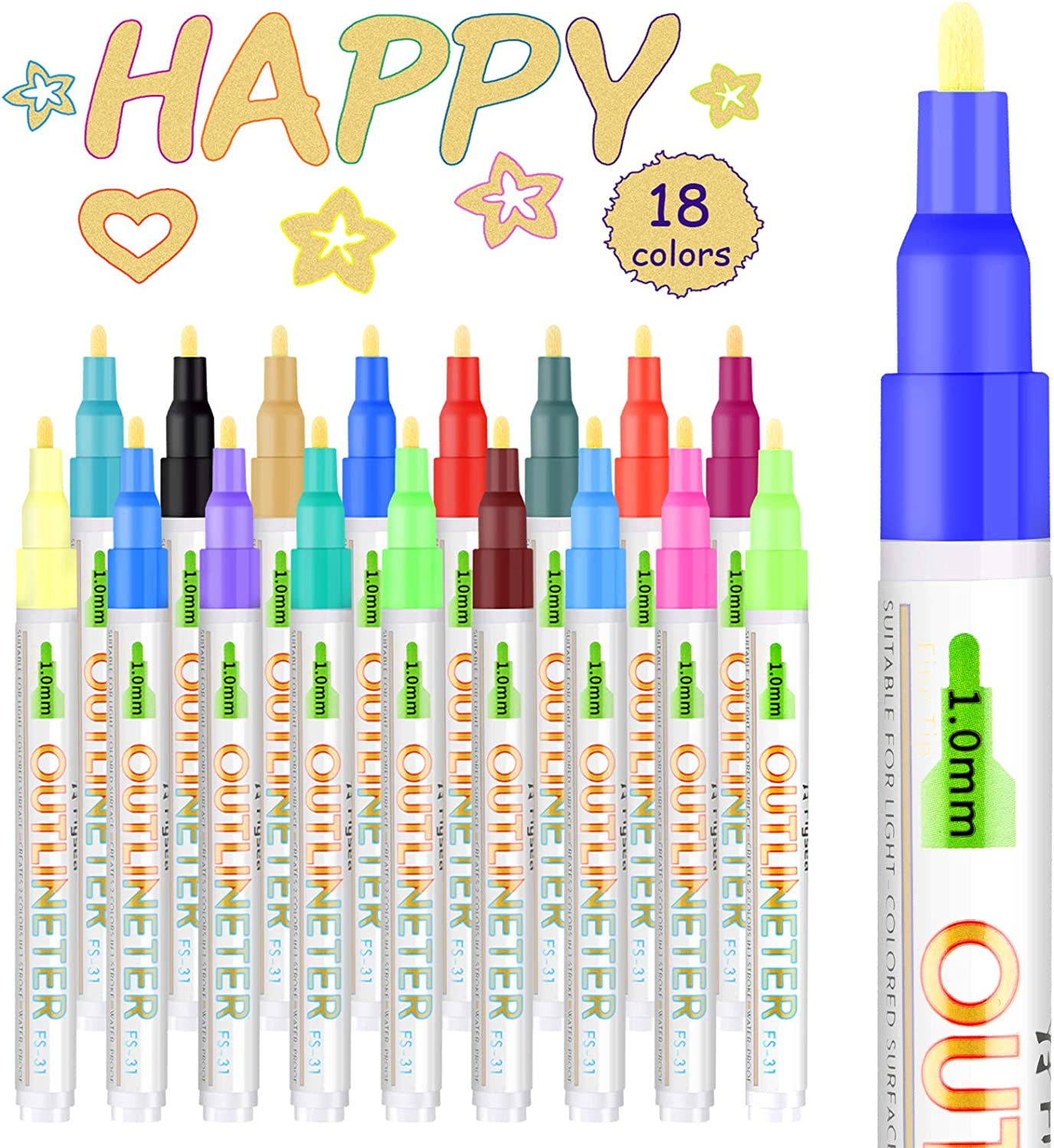 Double Line Markers Outline Pens,18 Colors Self Outline Metallic Markers Dazzle Shimmer Glitter Pens Permanent Painting for Easter Egg Decor, Gift Card, DIY Photo Album, Scrapbook Crafts, Wood, Glass