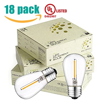 Keymit s14 1w 2200k 80lm truly warm glow e26 led clear glass bulbs e492997 edison vintage ambience 18pack amazon com