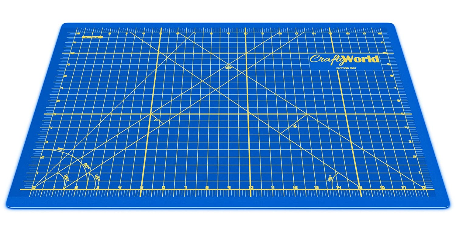 Crafty World Professional Self-Healing Double Sided Rotary Cutting Mat - Long Lasting Thick Non-Slip 18 x 24 Mat that Provides Easy Cuts for Fabric, Quilting, Sewing, and All Arts & Crafts Projects 4336849683