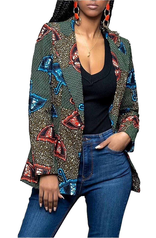 13ecd1f2cf5 Amazon.com  WentShopping Women Long Sleeve Collar Neck African Floral  Dashiki Jacket Blazer Suits Green  Clothing