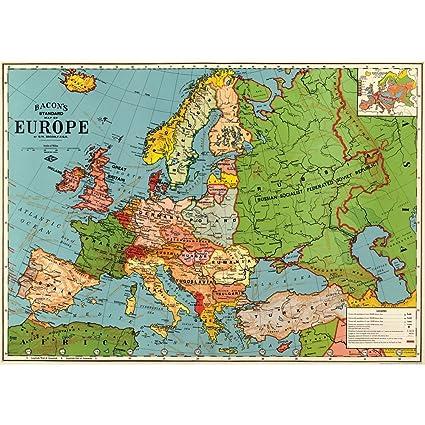 Amazon.com: Cavallini & Co. Europe Map Decorative Decoupage Poster ...