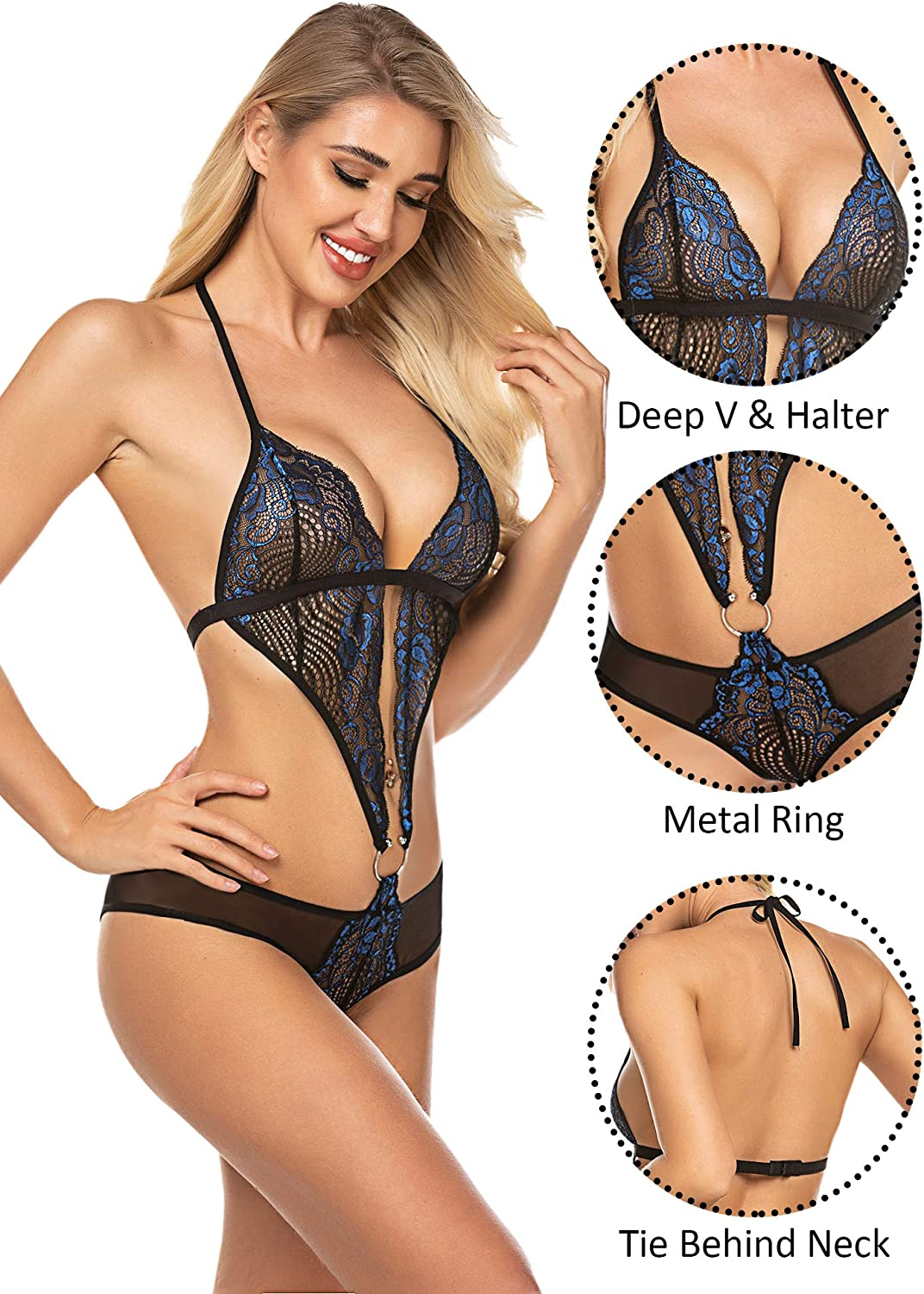 ADOME Women Lingerie Teddy Lace Bodysuit Deep V Halter One Piece Babydoll at  Women's Clothing store