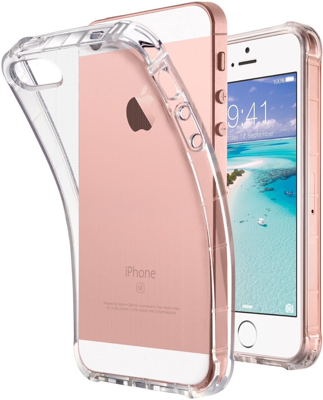 ULAK iPhone SE Case Clear, iPhone 5s case, iPhone 5 case, Clear Slim Fit 5/5S/SE Case with Transparent Flexible Soft TPU Bumper Shock-Absorption Cover -Retail Packaging - HD Clear