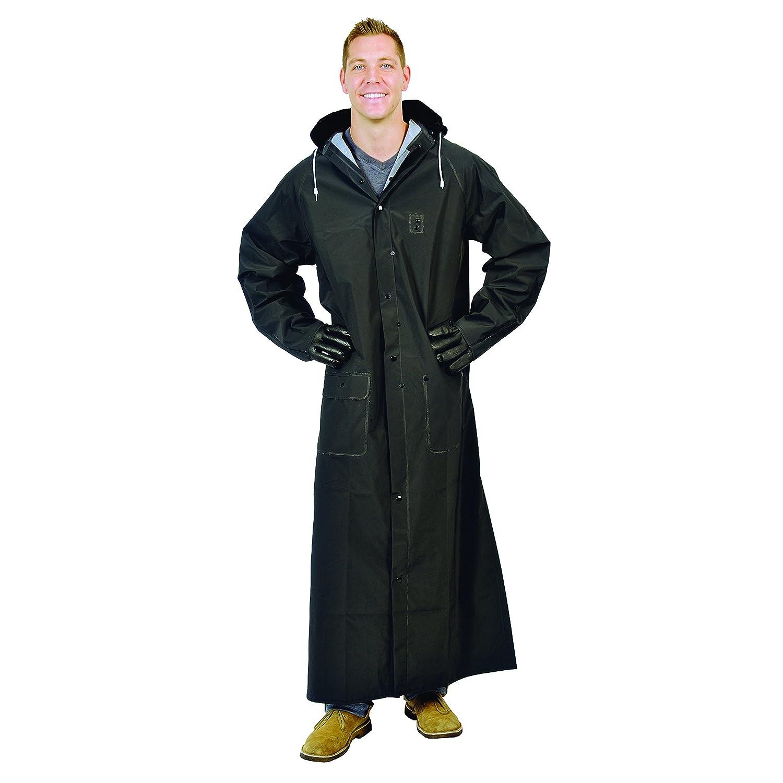 """Galeton 12560-XXXL-BK 12560 Repel Rainwear 0.35 mm PVC 60"""" Raincoat for More Coverage, 3XL, Black"""