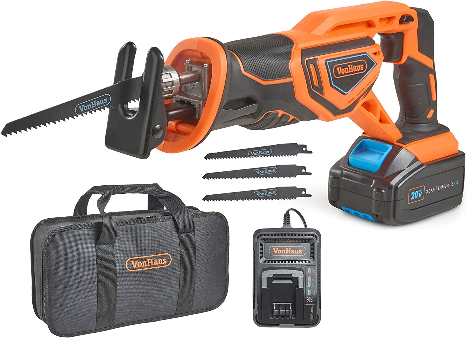 VonHaus 20V MAX Lithium-Ion Cordless Reciprocating Saw Kit with 4x Wood Blades and 1 Stroke Length For Wood Metal Cutting – Includes 3.0Ah Battery, Smart Charger, and Power Tool Bag