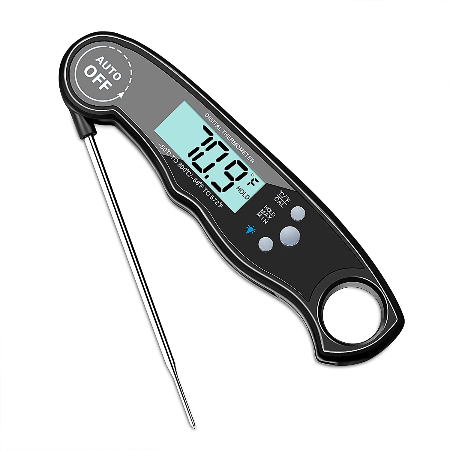 Instant Read Digital Food Thermometer with Bright Backlight LCD Screen, Kitchen Smart Waterproof Cooking Meat Thermometer By Bestmo (Black)