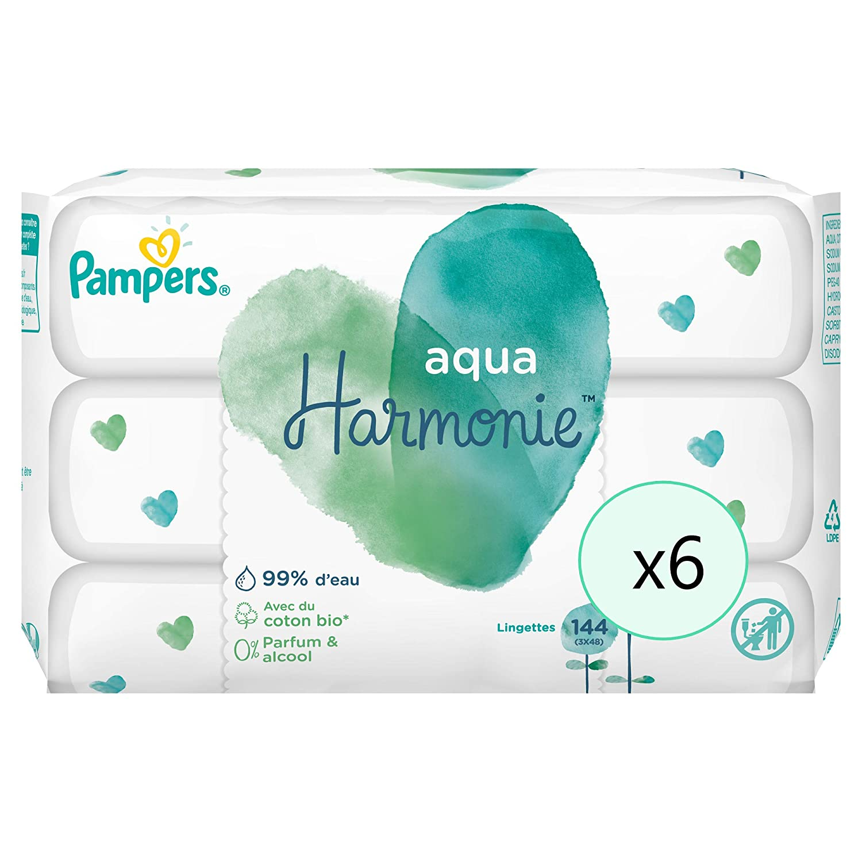 288 lingettes Aqua Harmonie Pampers Lingettes B/éb/é 2 Lots de 3 Paquets de 48