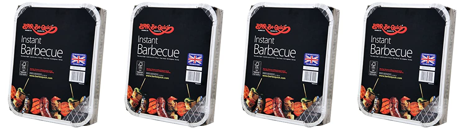 4 X Bar-Be-Quick Instant Barbecue packs- Each pack feeds 4 people-World's best brand leading disposable BBQ