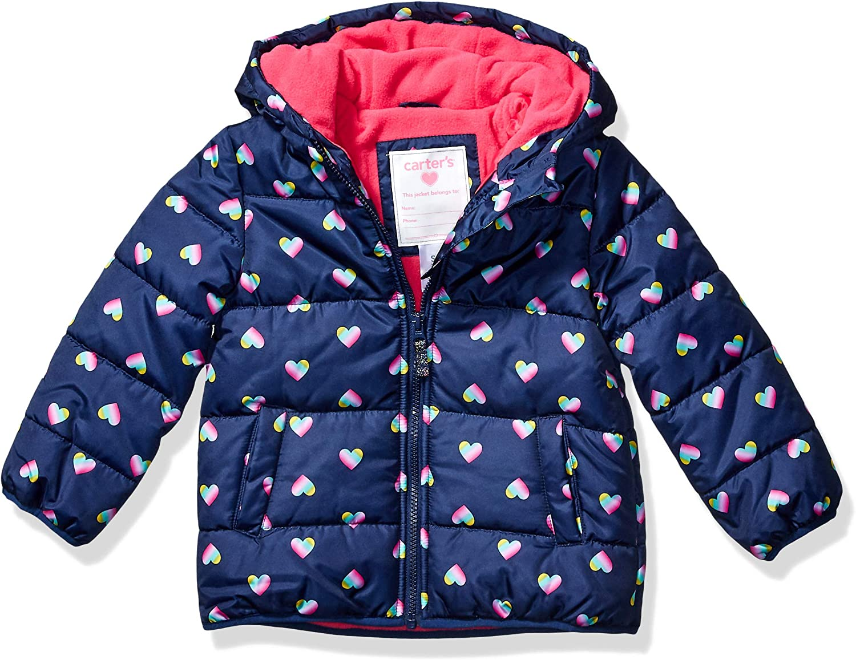 Carters Girls Little Fleece Lined Puffer Jacket Coat