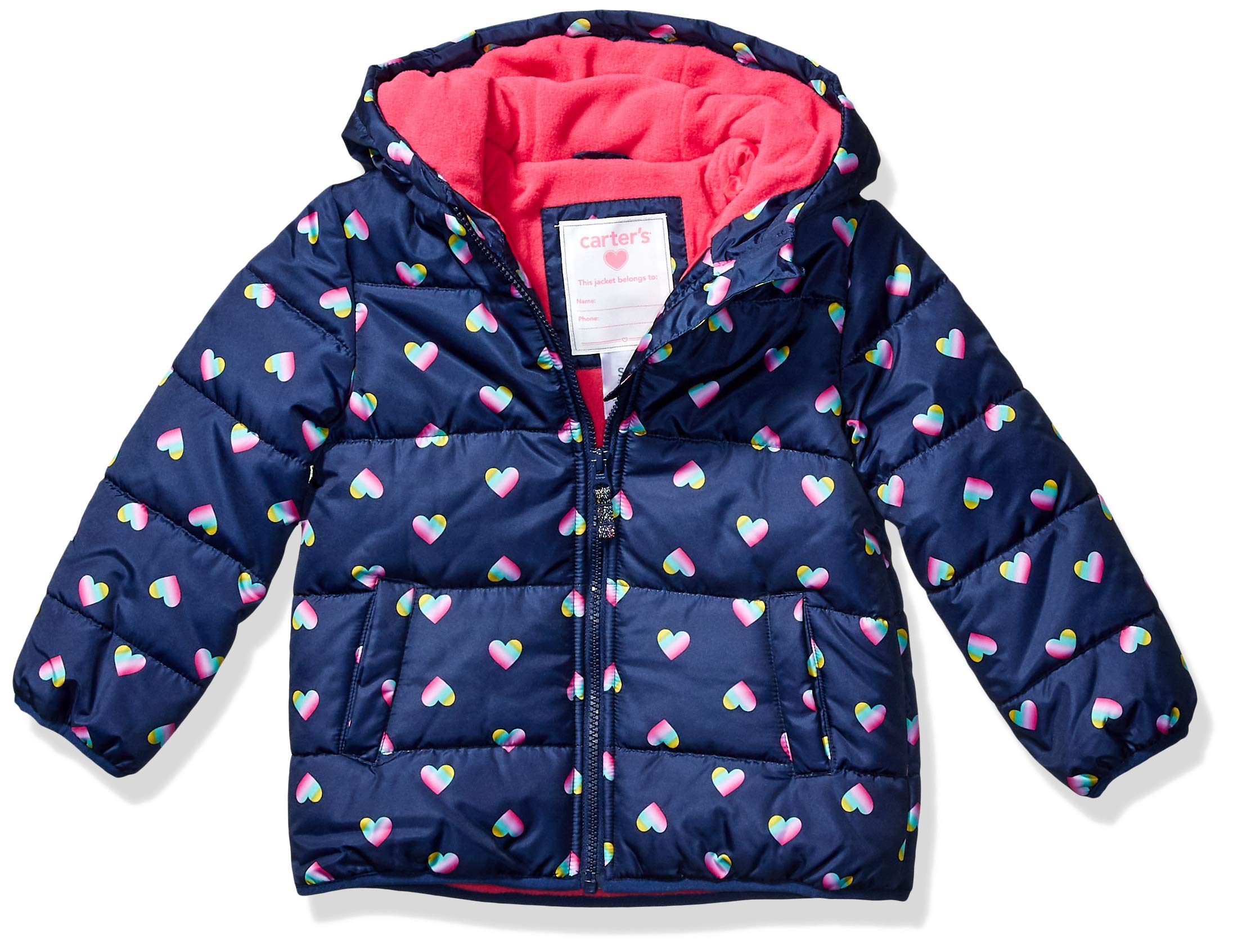 Carter's Girls' Toddler Fleece Lined Puffer Jacket Coat, Hearts on Navy, 3T by Carter's