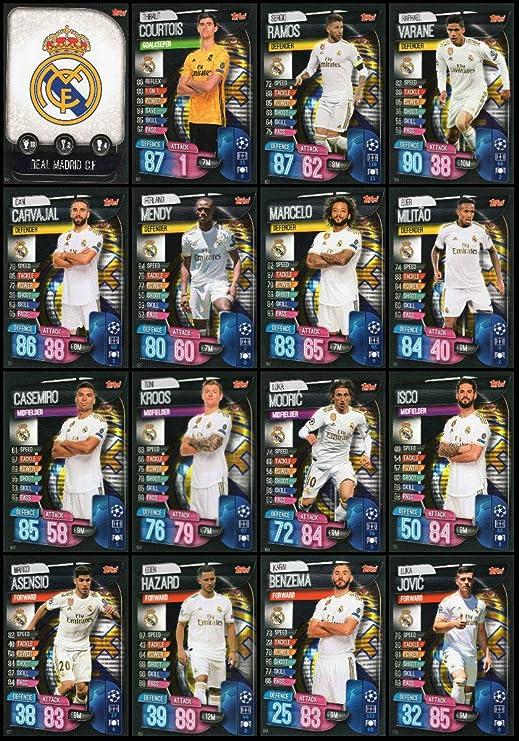 MATCH ATTAX 19/20 Real Madrid - Juego completo de 16 cartas, liga de campeones