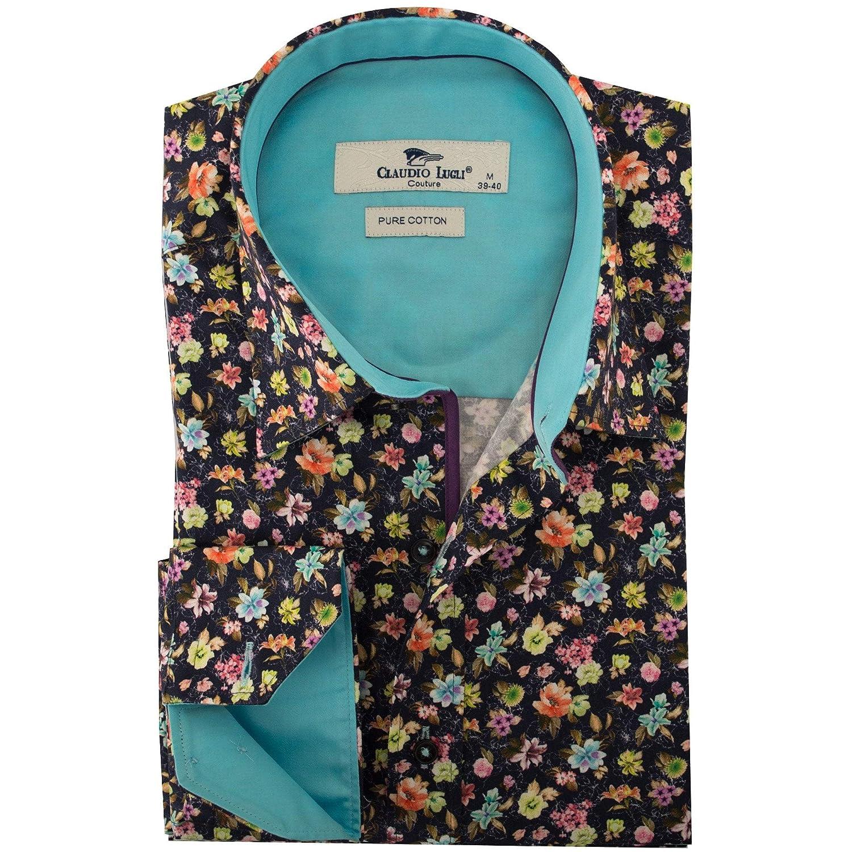 Claudio Lugli Navy Multi Floral Print Mens Shirt 3XLarge Navy