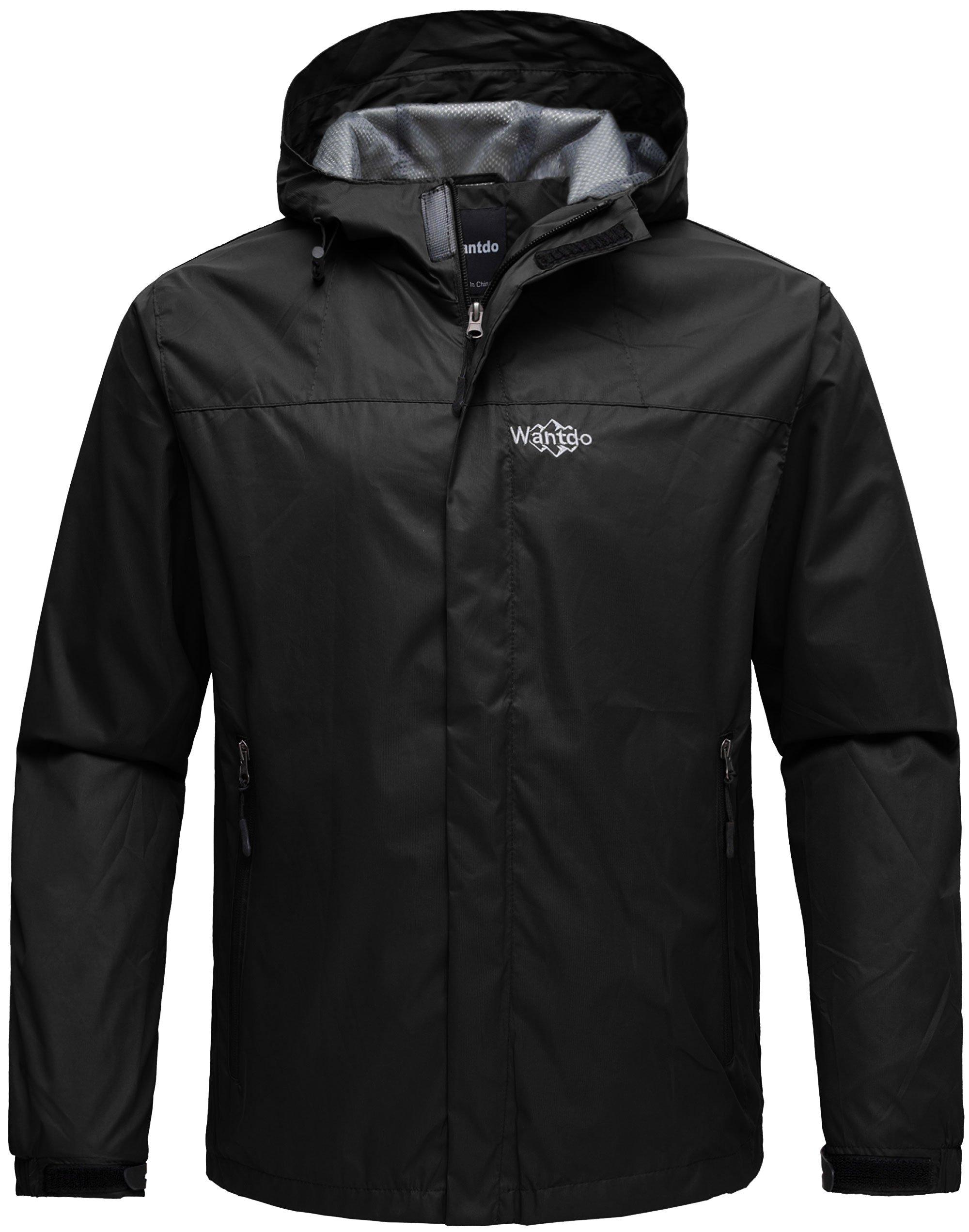 Wantdo Men's Zip Rain Jacket Windproof Windbreaker Outwear Coat for Mountaineering Black XL
