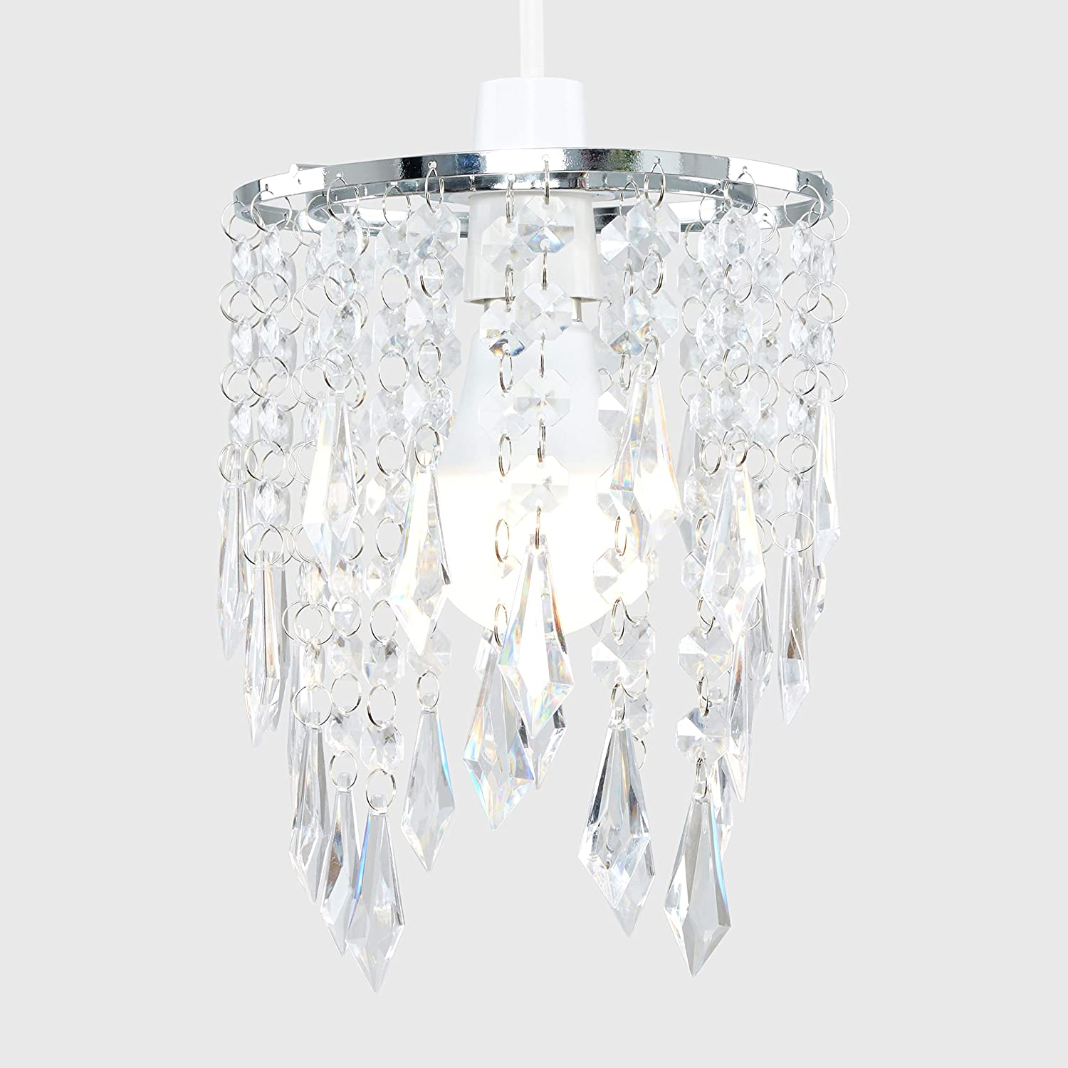 Elegant Chandelier Design Ceiling Pendant Light Shade with Beautiful Blue and Clear Acrylic Jewel Effect Droplets