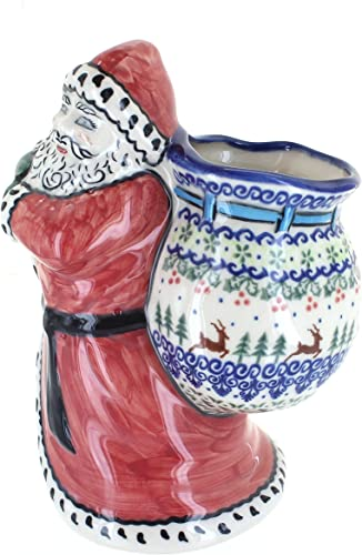 Blue Rose Polish Pottery Reindeer Delight Santa Claus