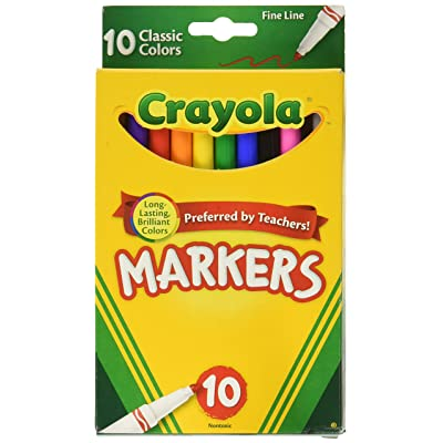 Crayola 58-7726 Classic Fine Line Markers Assorted Colors 10 Count, 2 Pack: Toys & Games