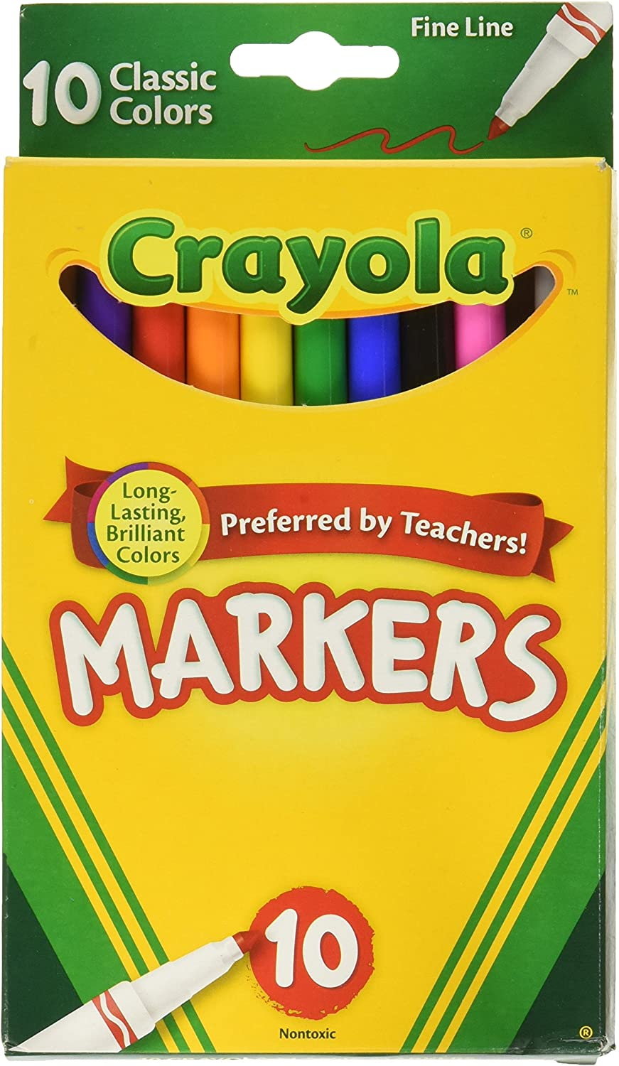 10 Ct Pack of 24 Classic Colors Crayola Fine Line Markers