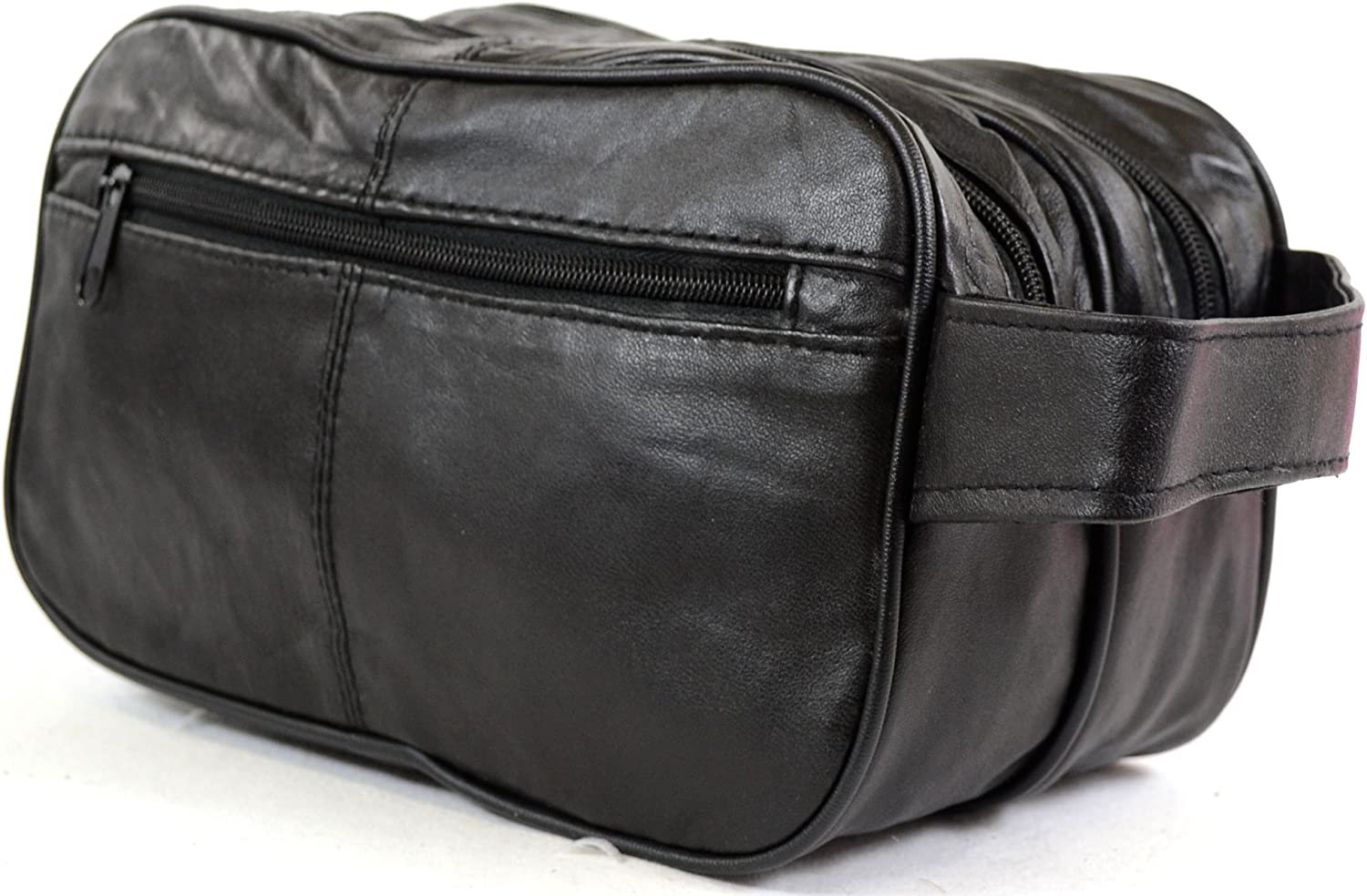 Mens Super Soft Nappa Leather Toiletries Travel Holiday Wash Bag Black