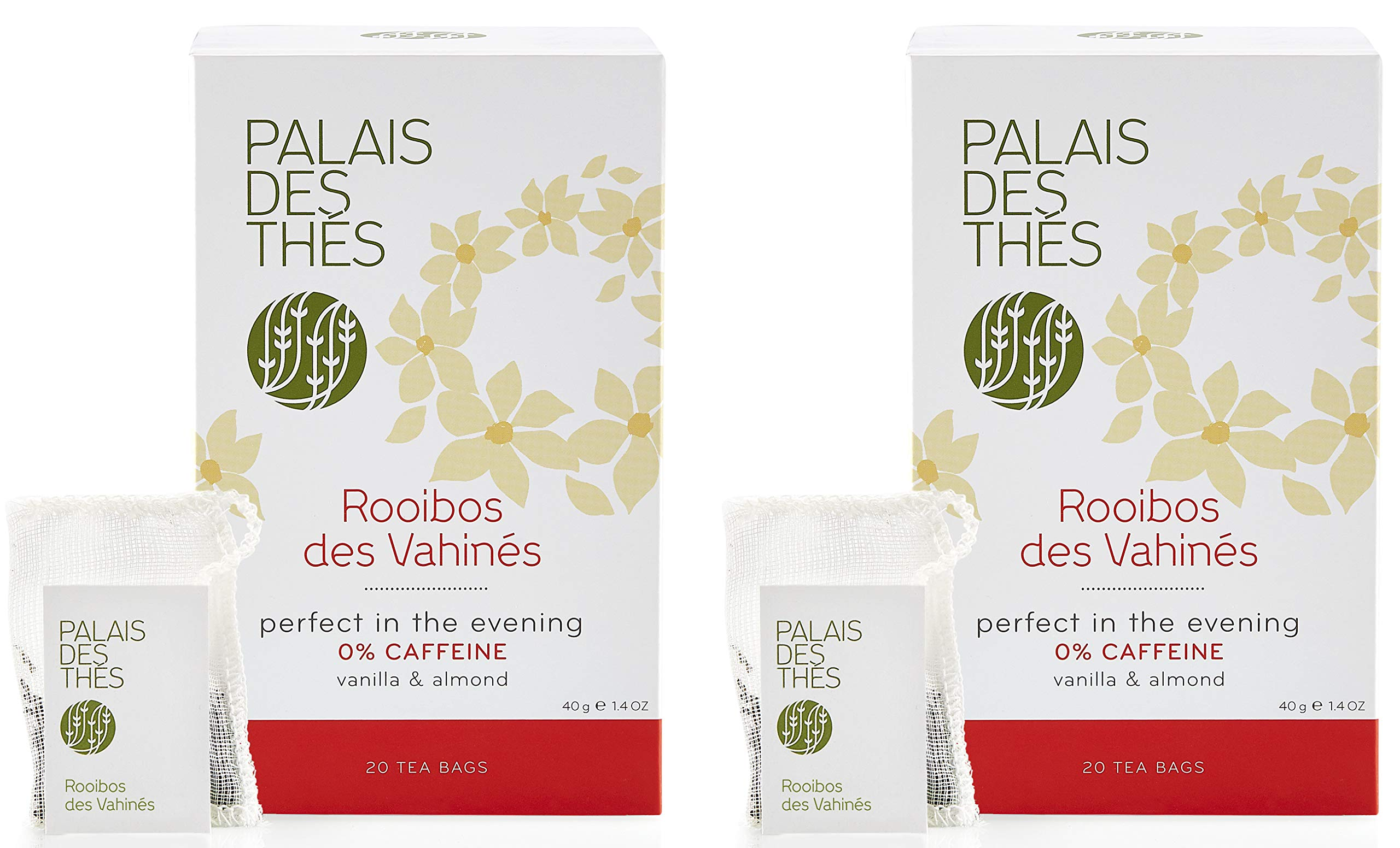 Palais des Thés Rooibos des Vahines Herbal Tea with Vanilla and Almond, 20 Tea Bags (2 Pack) by Palais des Thés