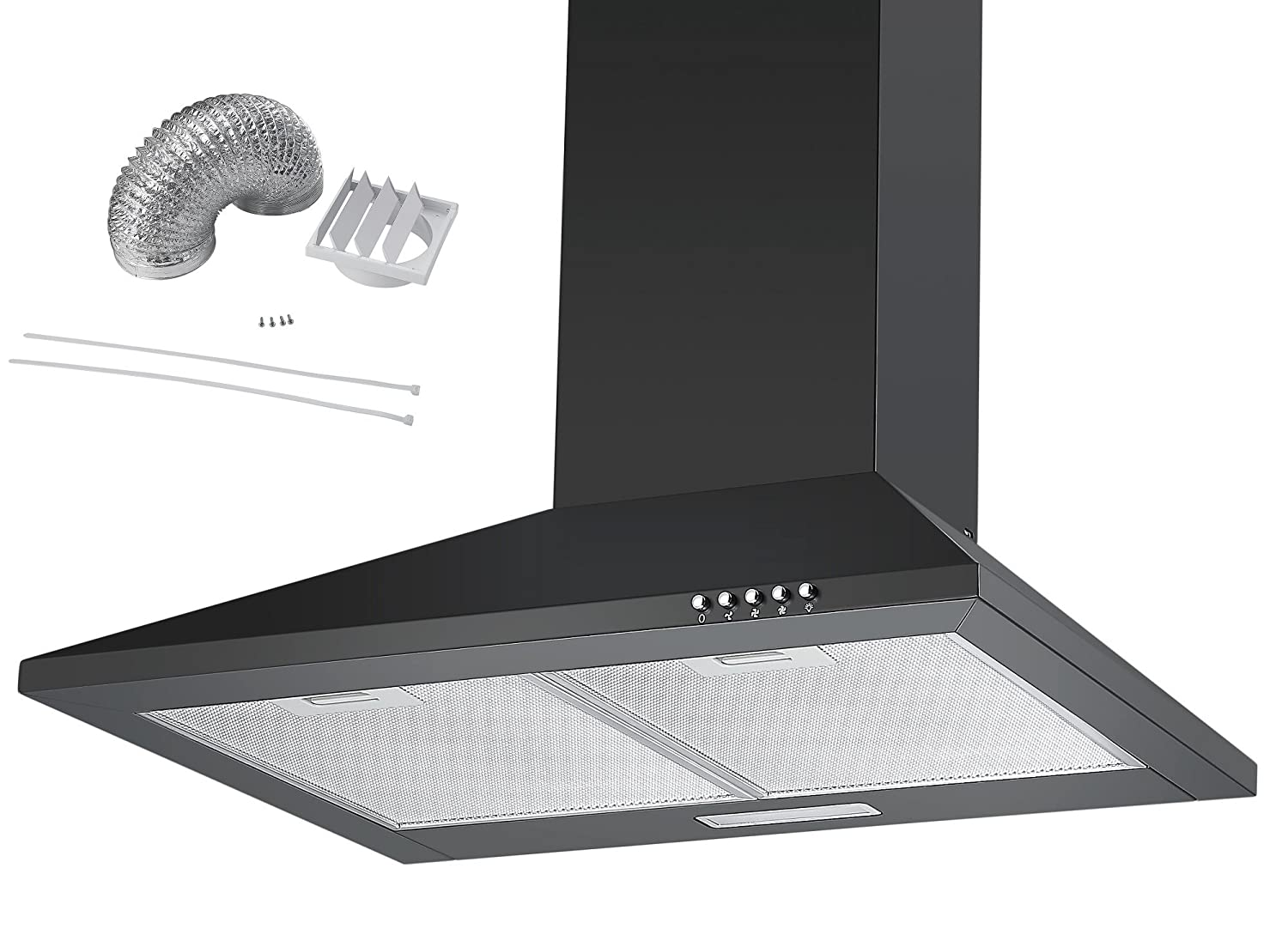 Cookology CH600BK DK1M150 | 60cm Chimney Cooker Hood, Kitchen Extractor Fan in Black & Ducting Kit
