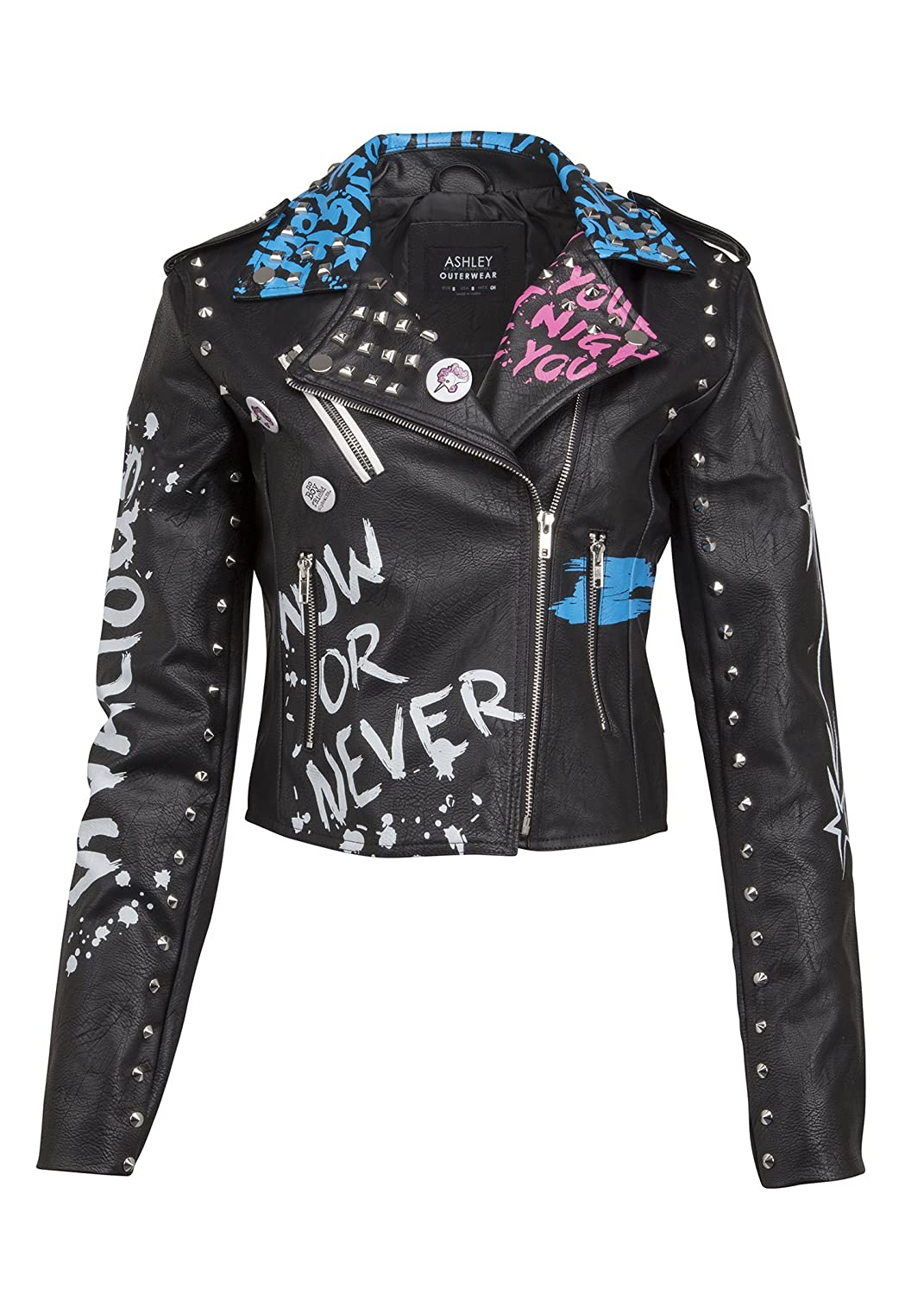 e584a0fe5812b Top6  Glam and Gloria Womens Black Faux Leather Studded Graffiti Look Punk Biker  Moto Jacket with Pins