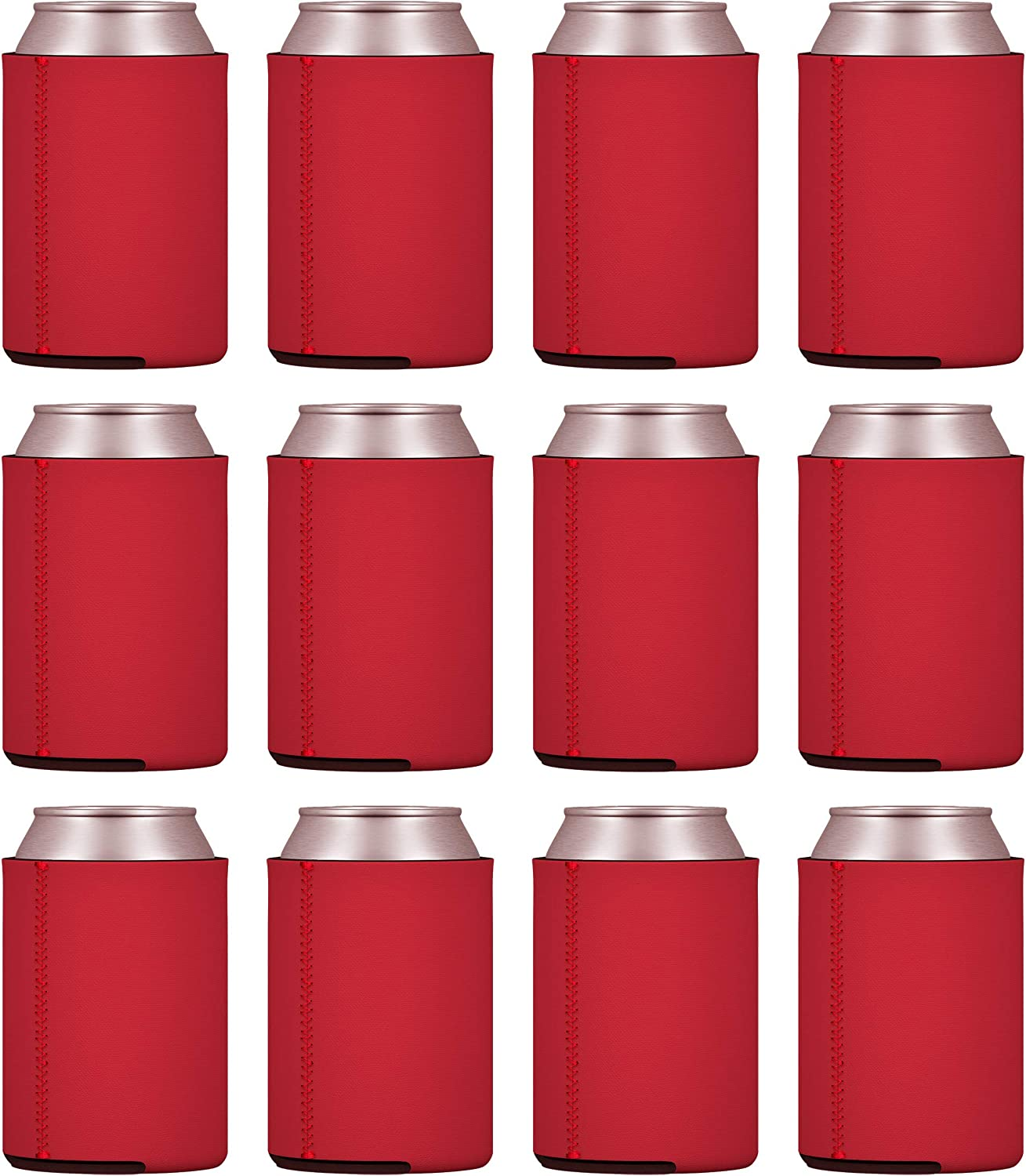 TahoeBay 12 Neoprene Can Sleeves for Standard 12 Ounce Cans Blank Beer Coolers (Red, 12)