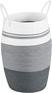 Miclotus Laundry Hamper Woven Cotton Rope Large Dirty Clothes Hamper with Cotton Handles 25.6