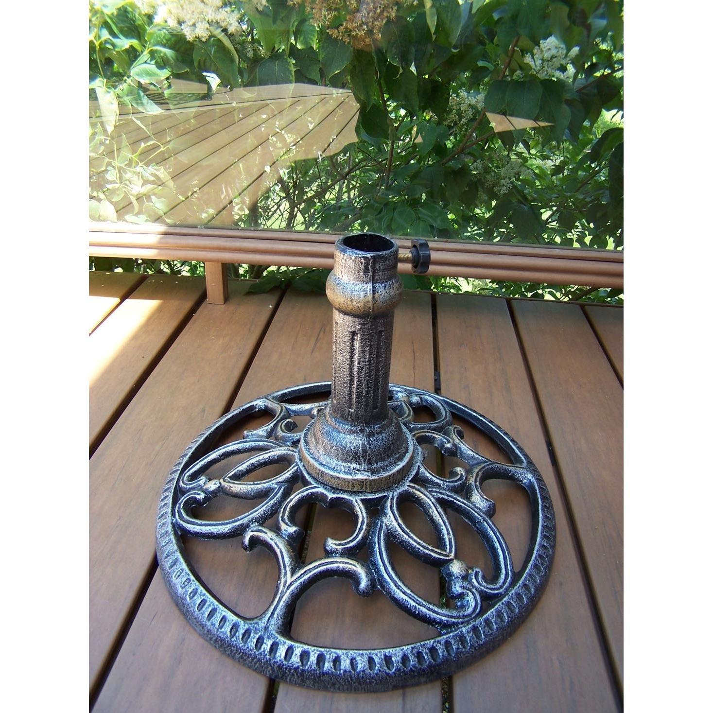 amazoncom oakland living round umbrella stand antique bronze patio umbrella bases patio lawn u0026 garden
