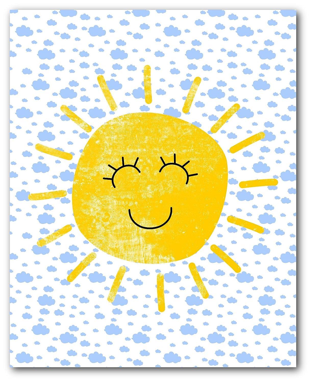 Unframed Happy Cloud Print Scandinavian Nursery Art 8 x 10 Inches