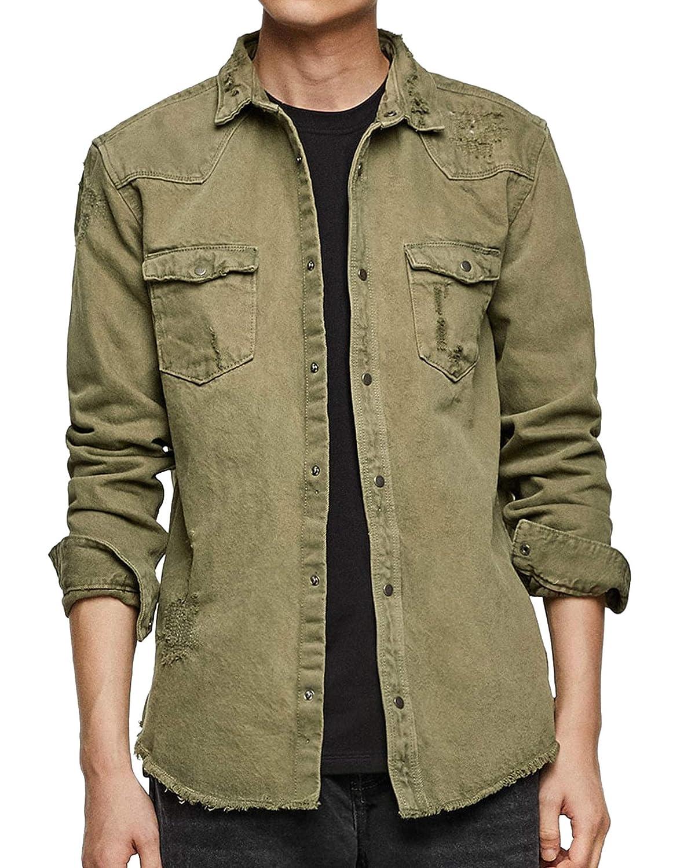 3ef284d77e Zara Men Ripped Denim Overshirt 1821 350 at Amazon Men s Clothing store