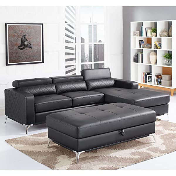 Sectional Sofa with Large Storage Ottoman, Right Facing Chaise 3 Pieces Set Faux Leather Recliner (Black) 2019 Updated Model by Bliss Brands