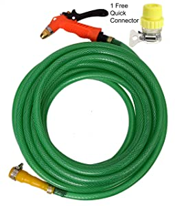 Dripit™ Braided Garden Hose Pipe (1/2 Inch x 10 Meters) with Brass Spray Gun, for Gardening,Car Wash.