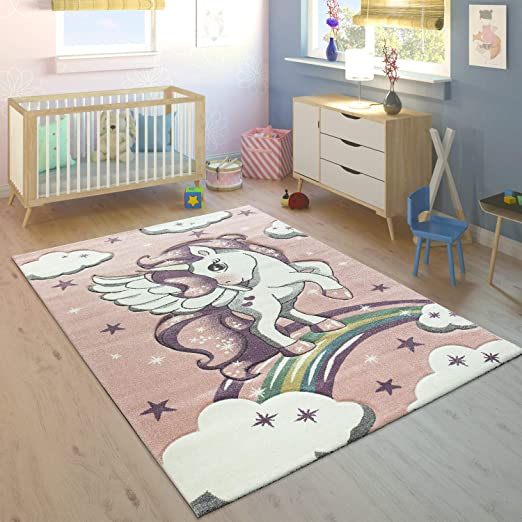 Alfombra Infantil Arco Iris Unicornio Pastel Rosa tama/ño:/Ø 120 cm Redondo