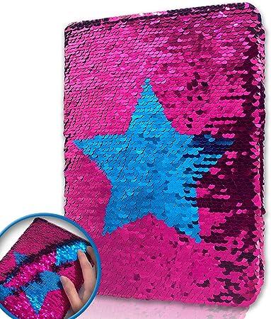 EverCreatives Reversible Flip Sequin Girls Journal,Star Pattern Kids Diary Perfect Kids Notebooks for Girls(Rose Red to Blue)…