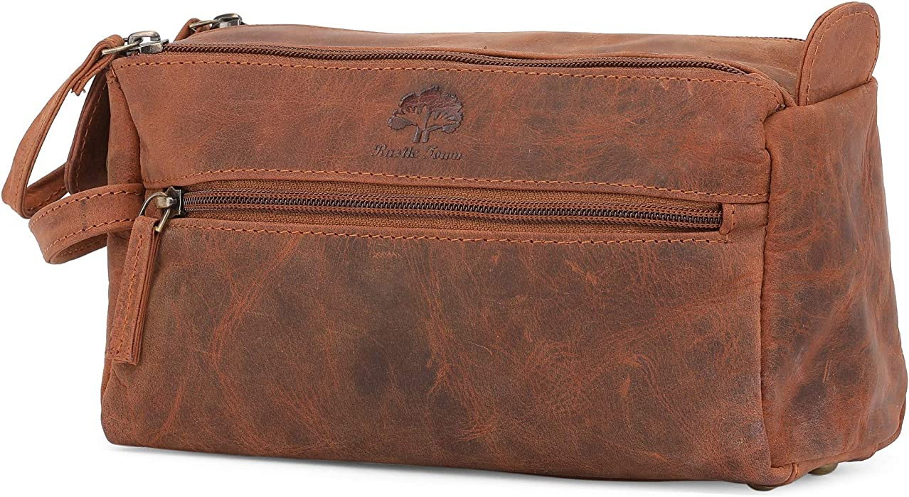 6239d95a3630 Genuine Leather Travel Toiletry Bag - Hygiene Organizer Dopp Kit By Rustic  Town (Brown)