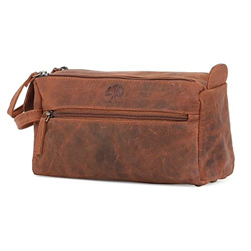 genuine leather travel toiletry bag hygiene organizer dopp kit by rustic town brown