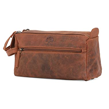 Leather Toiletry Bag for Men - Hygiene Organizer Travel Dopp Kit By Rustic Town