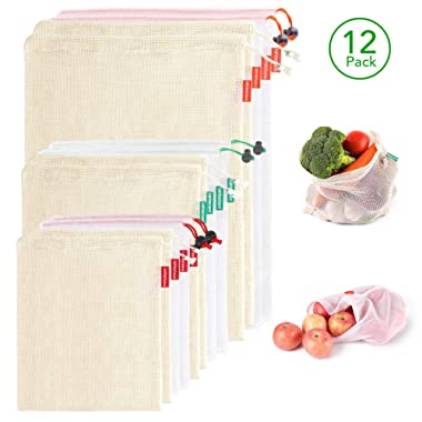 Lightimetunnel Reusable Produce Bags, 12 Packs Eco Friendly Net Grocery Bags for Shopping & Storage of Fruit Vegetable & Garden