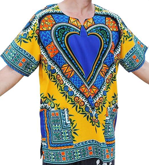 3533bd720c2 RaanPahMuang Unisex Bright Africa Heart Dashiki Cotton Plus Size Shirt
