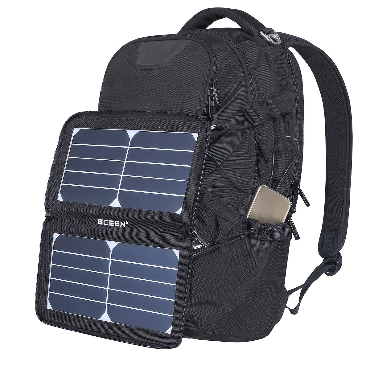 ECEEN Folding Solar Panel Phone Charger With USB Port,Zipper Pack for iPhone, iPad, iPods, Samsung, Android Smartphones Speaker Gopro All 5V USB-Charging Devices (Black) by ECEEN (Image #7)